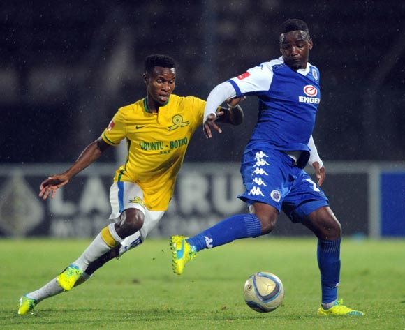 Themba Zwane of Mamelodi Sundowns challenges Thabo September of Supersport United during the Absa Premiership match Supersport United and Mamelodi Sundowns on 01 March 2016 at Lucas Moripe Stadium Pic Sydney Mahlangu/ BackpagePix