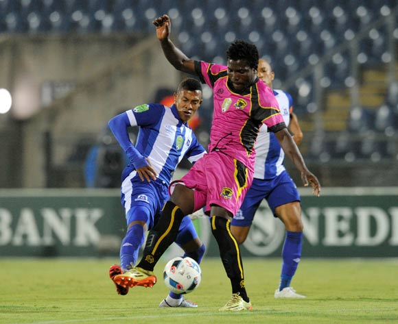 Gregory Maasdorp of Maritzburg United challenged by Thivhavhudzi Ndou of Black Leopards during the 2016 Nedbank Cup match between Maritzburg United and Black Leopards in Harry Gwala Stadium Pietermaritzburg, Kwa-Zulu Natal on 02 March 2016©Muzi Ntombela/Backpagepix