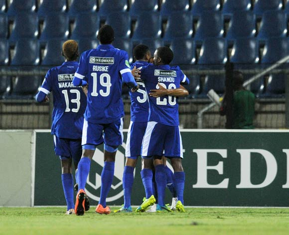 Kurt Lentjies of Maritzburg United celebrates goal with teammates during the 2016 Nedbank Cup match between Maritzburg United and Black Leopards in Harry Gwala Stadium Pietermaritzburg, Kwa-Zulu Natal on 02 March 2016©Muzi Ntombela/Backpagepix