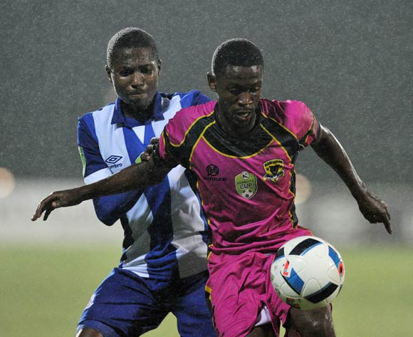 Lebogang Mabotja of Black Leopards battles with Bandile Shandu of Maritzburg United during the 2016 Nedbank Cup match between Maritzburg United and Black Leopards in Harry Gwala Stadium Pietermaritzburg, Kwa-Zulu Natal on 02 March 2016©Muzi Ntombela/Backpagepix