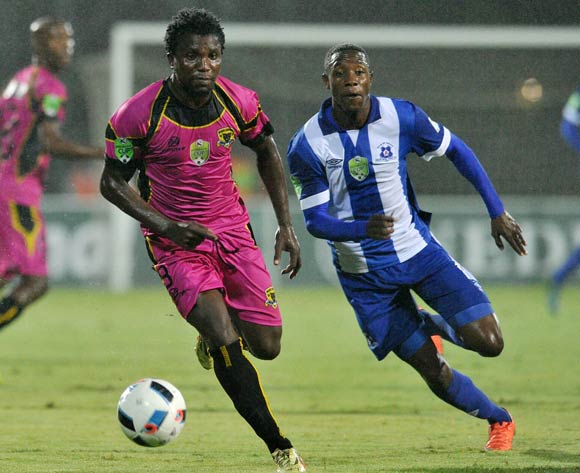 Thivhavhudzi Ndou of Black Leopards challenged by Evans Rusike of Maritzburg United during the 2016 Nedbank Cup match between Maritzburg United and Black Leopards in Harry Gwala Stadium Pietermaritzburg, Kwa-Zulu Natal on 02 March 2016©Muzi Ntombela/Backpagepix
