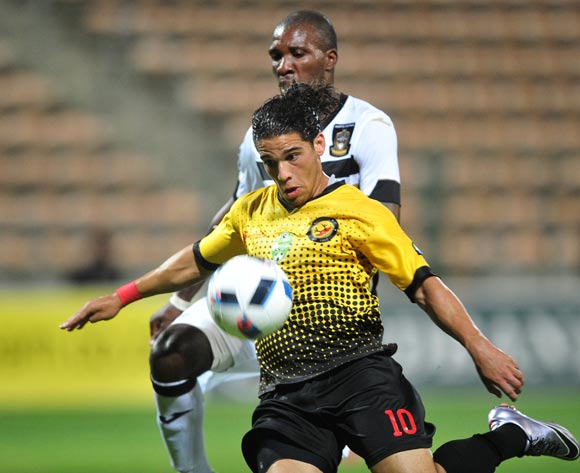 Suhayl Allie of Santos lines up a shot at goal as Mashale Rantabane of Mthatha Bucks closes him down during the 2016 Netbank Cup last 32 game between Santos and Mthatha Bucks at Athlone Stadium, Cape Town on 2 March 2016 ©Ryan Wilkisky/BackpagePix