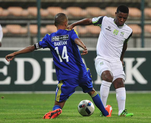 Lulama Maqoko of Steenberg United and Marawaan Bantam of Steenberg United challenge for ball during the 2016 Nedbank Cup football match between Steenberg United and Platinum Stars at Athlone Stadium, Cape Town on 4 March 2016 ©Chris Ricco/BackpagePix