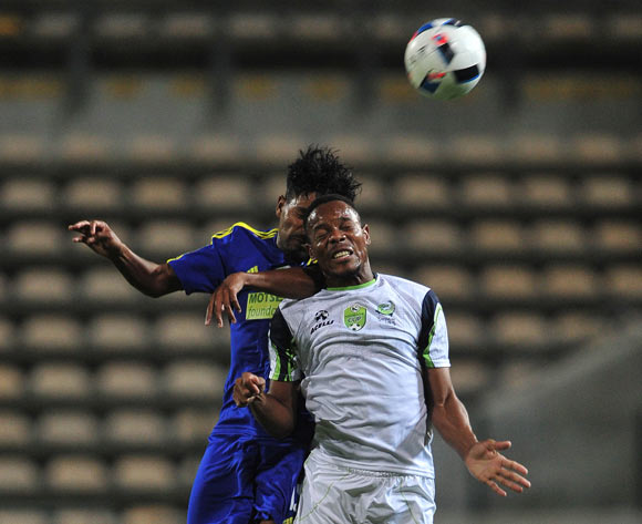 Moegamat Bernard of Steenberg United battles for the ball with Thabiso Semenya of Platinum Stars during the 2016 Nedbank Cup football match between Steenberg United and Platinum Stars at Athlone Stadium, Cape Town on 4 March 2016 ©Chris Ricco/BackpagePix