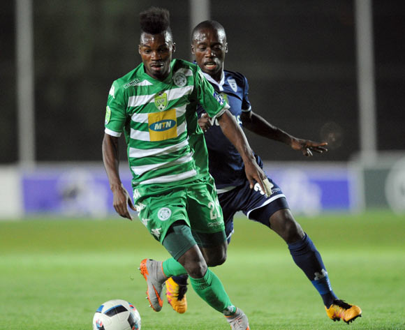 Liston Abdoul of Bloemfontein Celtic is challenged by Ben Motswari of Bidvest Wits during the 2016 Nedbank Cup Last 32 match between Bidvest Wits and Bloemfontein Celtic  on 04 March 2016 at Bidvest Stadium Pic Sydney Mahlangu/ BackpagePix