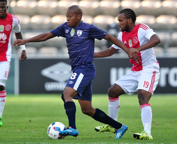 Danny Venter of Free State Stars evades challenge from Asive Langwe of Ajax Cape Town during the 2016 Nedbank Cup football match between Ajax Cape Town and Free State Stars at Athlone Stadium, Cape Town on 5 March 2016 ©Chris Ricco/BackpagePix