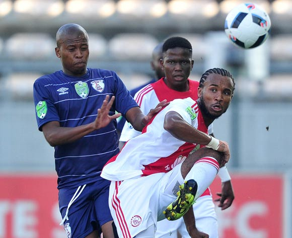 Asive Langwe of Ajax Cape Town evades challenge from Danny Venter of Free State Stars during the 2016 Nedbank Cup football match between Ajax Cape Town and Free State Stars at Athlone Stadium, Cape Town on 5 March 2016 ©Chris Ricco/BackpagePix