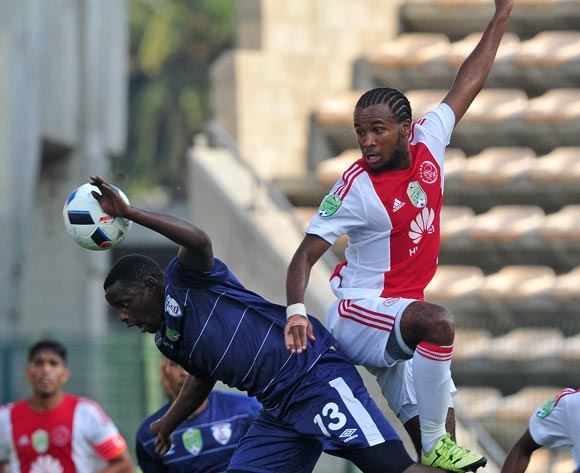 Asive Langwe of Ajax Cape Town and Lucky Mohomi of Free State Stars challenge for ball during the 2016 Nedbank Cup football match between Ajax Cape Town and Free State Stars at Athlone Stadium, Cape Town on 5 March 2016 ©Chris Ricco/BackpagePix