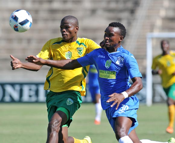 Siyabonga Vilane of Milford FC challenged by Nkanyiso Ngwengwe of Golden Arrows during the 2016 Nedbank Cup match between Golden Arrows and Milford FC in King Zwelithini Stadium Umlazi, Kwa-Zulu Natal on 05 March 2016©Muzi Ntombela/Backpagepix