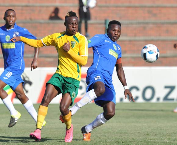 Kudakwashe Mahachi of Golden Arrows challenged by Phakamani Ngxongo of Milford FC during the 2016 Nedbank Cup match between Golden Arrows and Milford FC in King Zwelithini Stadium Umlazi, Kwa-Zulu Natal on 05 March 2016©Muzi Ntombela/Backpagepix