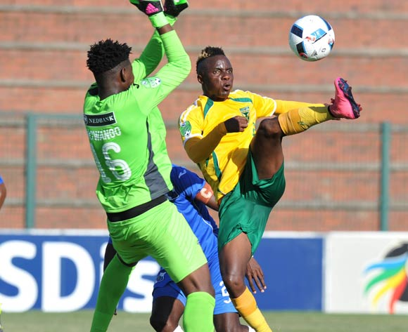 Kudakwashe Mahachi of Golden Arrows challenged by Msawakhe Mncwango of Milford FC during the 2016 Nedbank Cup match between Golden Arrows and Milford FC in King Zwelithini Stadium Umlazi, Kwa-Zulu Natal on 05 March 2016©Muzi Ntombela/Backpagepix