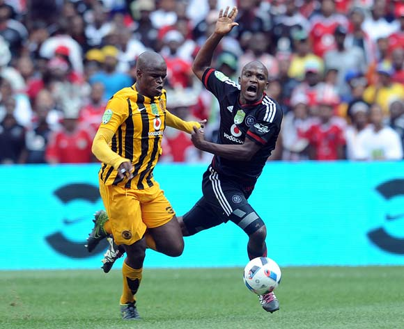 Willard Katsande of Kaizer Chiefs challenges Gift Motupa of Orlando Pirates  during the 2016 Nedbank Cup Last 32 match between Orlando Pirates and Kaizer Chiefs on 05 March 2016 at FNB Stadium  Pic Sydney Mahlangu/ BackpagePix