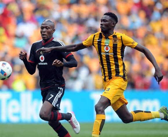Tendai Ndoro of Orlando Pirates IS CHALLENGED BY Erick Mathoho of Kaizer Chiefs  during the 2016 Nedbank Cup Last 32 match between Orlando Pirates and Kaizer Chiefs on 05 March 2016 at FNB Stadium  Pic Sydney Mahlangu/ BackpagePix