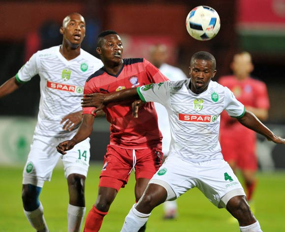 Luyanda Hlongwa (r) of AmaZulu challenged by Denver Mukamba (l) of Jomo Cosmos during the 2016 Netbank Cup last 32 game between Jomo Cosmos and AmaZulu at the Olen Park Stadium in Pochestroom, South Africa on March 08, 2016 ©Samuel Shivambu/BackpagePix