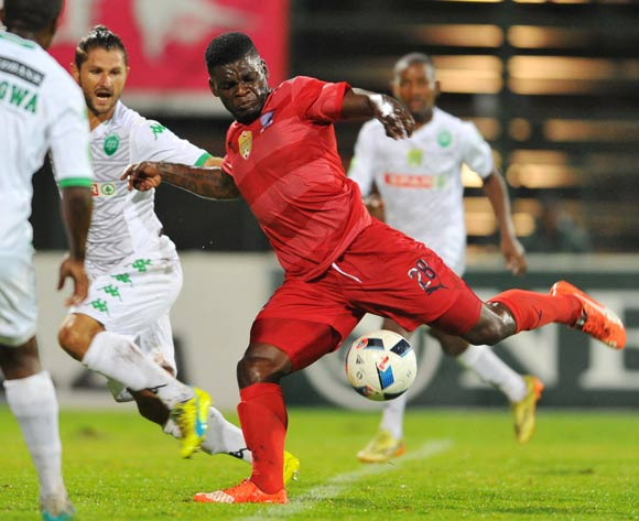 Mthokozisi Msomi (r) of Jomo Cosmos challenged by Marc van Heerden (l) of AmaZulu during the 2016 Netbank Cup last 32 game between Jomo Cosmos and AmaZulu at the Olen Park Stadium in Pochestroom, South Africa on March 08, 2016 ©Samuel Shivambu/BackpagePix