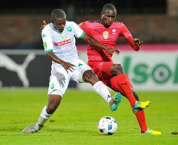 Charlton Mashumba (r) of Jomo Cosmos challenged by Luyanda Hlongwa (l) of AmaZulu during the 2016 Netbank Cup last 32 game between Jomo Cosmos and AmaZulu at the Olen Park Stadium in Pochestroom, South Africa on March 08, 2016 ©Samuel Shivambu/BackpagePix