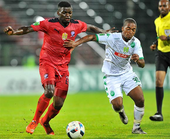 Mthokozisi Msomi (l) of Jomo Cosmos challenged by Avela Cezo (r) of AmaZulu during the 2016 Netbank Cup last 32 game between Jomo Cosmos and AmaZulu at the Olen Park Stadium in Pochestroom, South Africa on March 08, 2016 ©Samuel Shivambu/BackpagePix