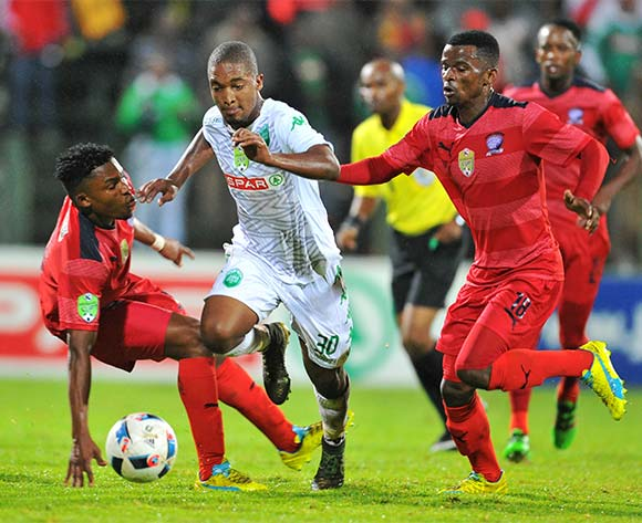 Avela Cezo (c) of AmaZulu challenged by Thato Lingwati (l) and Tebogo Makobela (r) of Jomo Cosmos during the 2016 Netbank Cup last 32 game between Jomo Cosmos and AmaZulu at the Olen Park Stadium in Pochestroom, South Africa on March 08, 2016 ©Samuel Shivambu/BackpagePix