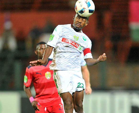 Sbusiso Hadebe (f) of AmaZulu challenged by Micium Mhone (b) of Jomo Cosmos during the 2016 Netbank Cup last 32 game between Jomo Cosmos and AmaZulu at the Olen Park Stadium in Pochestroom, South Africa on March 08, 2016 ©Samuel Shivambu/BackpagePix