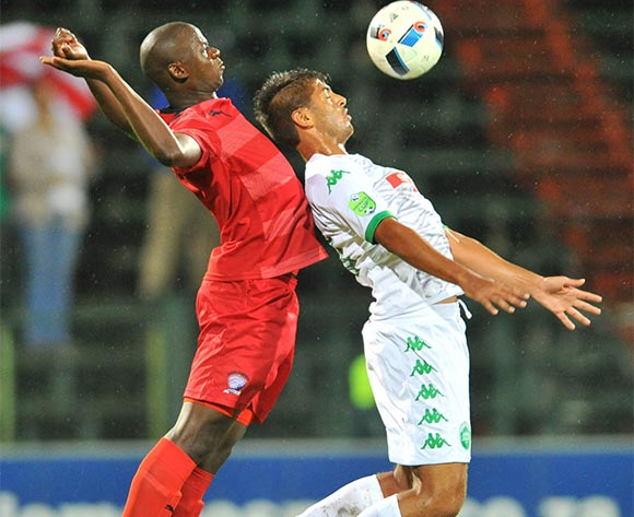 Zaid Patel (r) of AmaZulu challenged by Nndabenhle Mthembu (l) of Jomo Cosmos during the 2016 Netbank Cup last 32 game between Jomo Cosmos and AmaZulu at the Olen Park Stadium in Pochestroom, South Africa on March 08, 2016 ©Samuel Shivambu/BackpagePix