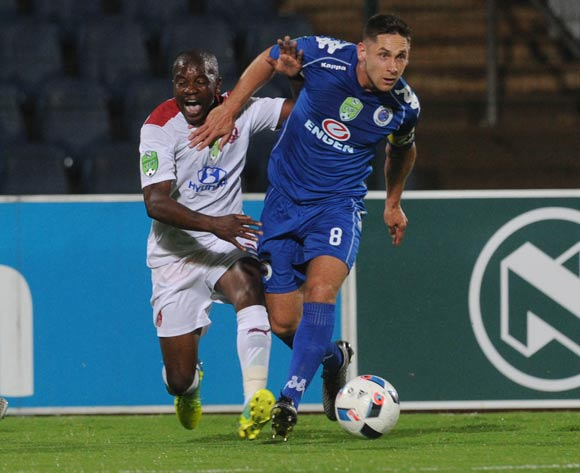 Clifford Mulenga of Moroka Swallows is challenged by Dean Furman of Supersport United   during the 2016 Nedbank Cup Last 32 match between Moroka Swallows and Supersport United on 08 March 2016 at Dobsonville Stadium Pic Sydney Mahlangu/ BackpagePix
