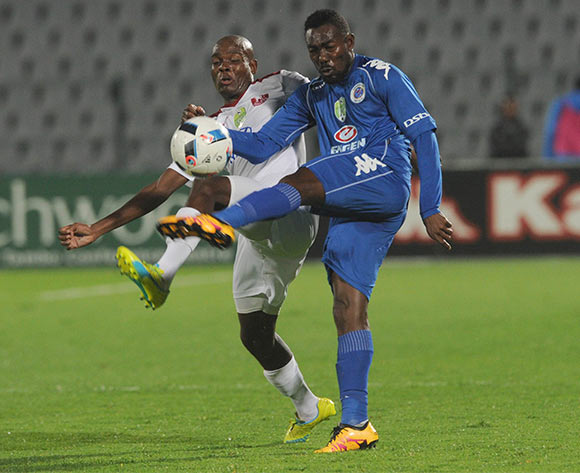 Dove Wome of Supersport United is challenged by Tercious Malepe of Moroka Swallows  during the 2016 Nedbank Cup Last 32 match between Moroka Swallows and Supersport United on 08 March 2016 at Dobsonville Stadium Pic Sydney Mahlangu/ BackpagePix