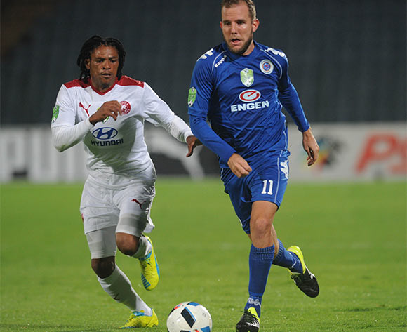 Jeremy Brockie of Supersport United is challenged by Aleni Lebyane of Moroka Swallows  during the 2016 Nedbank Cup Last 32 match between Moroka Swallows and Supersport United on 08 March 2016 at Dobsonville Stadium Pic Sydney Mahlangu/ BackpagePix