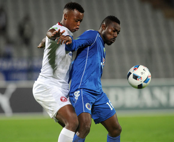 Tshepo Moloto of Moroka Swallows challenges Dove Wome of Supersport United during the 2016 Nedbank Cup Last 32 match between Moroka Swallows and Supersport United on 08 March 2016 at Dobsonville Stadium Pic Sydney Mahlangu/ BackpagePix