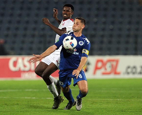 Edwin Sitaytayi of Moroka Swallows challenges Dean Furman of Supersport United   during the 2016 Nedbank Cup Last 32 match between Moroka Swallows and Supersport United on 08 March 2016 at Dobsonville Stadium Pic Sydney Mahlangu/ BackpagePix