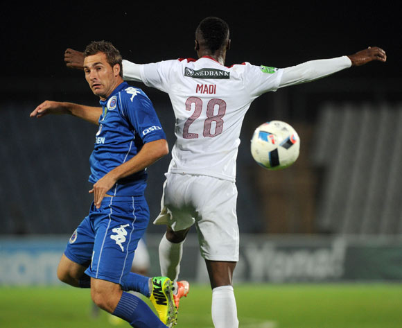 Sabelo Madi of Moroka Swallows challenges  Bradley Grobler of Supersport United during the 2016 Nedbank Cup Last 32 match between Moroka Swallows and Supersport United on 08 March 2016 at Dobsonville Stadium Pic Sydney Mahlangu/ BackpagePix