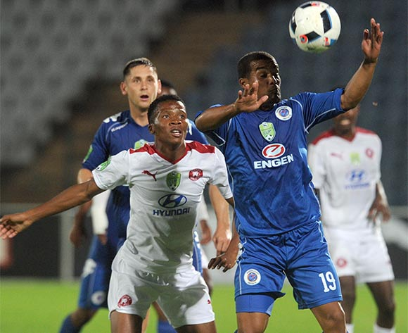 Tercious Malepe of Moroka Swallows challenges Fagrie Lakay of Supersport United  during the 2016 Nedbank Cup Last 32 match between Moroka Swallows and Supersport United on 08 March 2016 at Dobsonville Stadium Pic Sydney Mahlangu/ BackpagePix