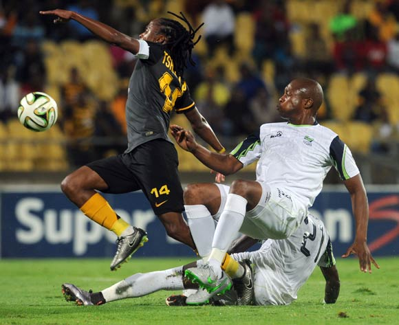 Siphiwe Tshabalala of Kaizer Chiefs is challenged by Gift Sithole of Platinum Stars during the Absa Premiership match between Platinum Stars and Kaizer Chiefs on 09 March 2016 at Royal Bafokeng Stadium Pic Sydney Mahlangu/ BackpagePix