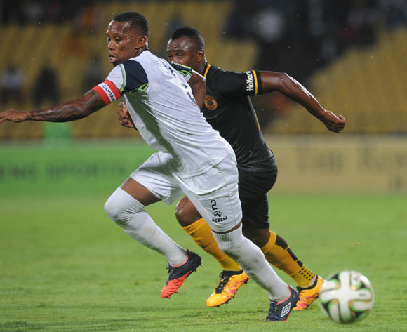 Vuyo Mere of Platinum Stars challenges Tsepo Masilela of Kaizer Chiefs during the Absa Premiership match between Platinum Stars and Kaizer Chiefs on 09 March 2016 at Royal Bafokeng Stadium Pic Sydney Mahlangu/ BackpagePix