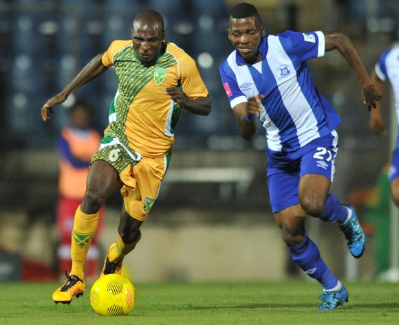 Rodney Ramagalela of Golden Arrows challenged by Thamsanqa Mkhize of Maritzburg United during the Absa Premiership 2015/16 match between Maritzburg United and Golden Arrows in Harry Gwala Stadium Pietermaritzburg, Kwa-Zulu Natal on 11 March 2016©Muzi Ntombela/Backpagepix