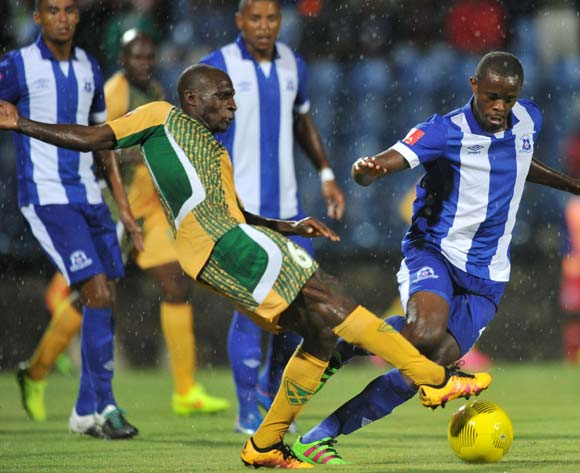 Kwanda Mngonyama of Maritzburg United challenged by Rodney Ramagalela of Golden Arrows during the Absa Premiership 2015/16 match between Maritzburg United and Golden Arrows in Harry Gwala Stadium Pietermaritzburg, Kwa-Zulu Natal on 11 March 2016©Muzi Ntombela/Backpagepix