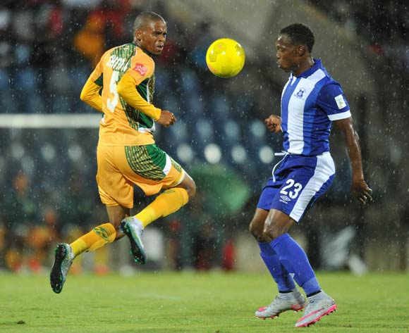 Gladwin Shitolo of Golden Arrows challenged by Philani Zulu of Maritzburg United during the Absa Premiership 2015/16 match between Maritzburg United and Golden Arrows in Harry Gwala Stadium Pietermaritzburg, Kwa-Zulu Natal on 11 March 2016©Muzi Ntombela/Backpagepix