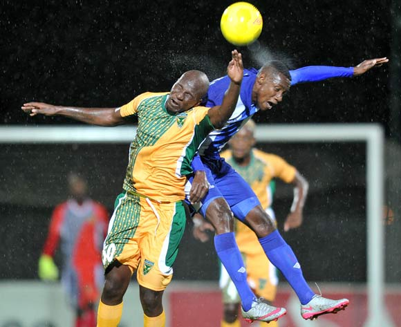 Evans Rusike of Maritzburg United challenged by Musa Bilankulu of Golden Arrows during the Absa Premiership 2015/16 match between Maritzburg United and Golden Arrows in Harry Gwala Stadium Pietermaritzburg, Kwa-Zulu Natal on 11 March 2016©Muzi Ntombela/Backpagepix