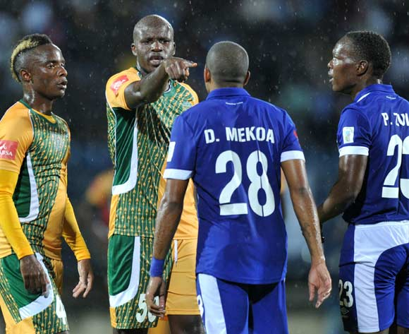 Musa Bilankulu of Golden Arrows reacts argues with Deolin Mekoa of Martizburg United (28) during the Absa Premiership 2015/16 match between Maritzburg United and Golden Arrows in Harry Gwala Stadium Pietermaritzburg, Kwa-Zulu Natal on 11 March 2016©Muzi Ntombela/Backpagepix