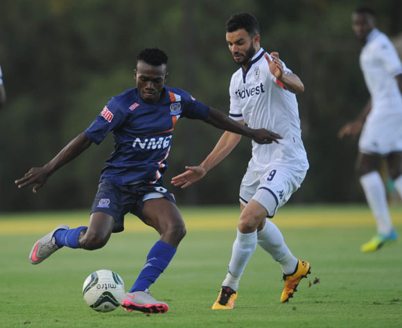 Dillon Sheppard of Bidvest Wits challenges Salum Salum of Azam FC  during the CAF Confederation Cup match between Bidvest Wits and Azam on 12 March 2016 at Bidvest Stadium Pic Sydney Mahlangu/ BackpagePix