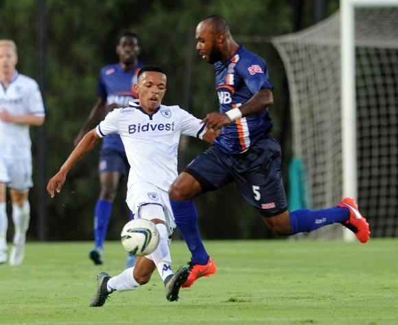 Koiekantse Mosiatlahaga of Bidvest Wits  is challenged by Serge Wawa of Azam FC  during the CAF Confederation Cup match between Bidvest Wits and Azam on 12 March 2016 at Bidvest Stadium Pic Sydney Mahlangu/ BackpagePix