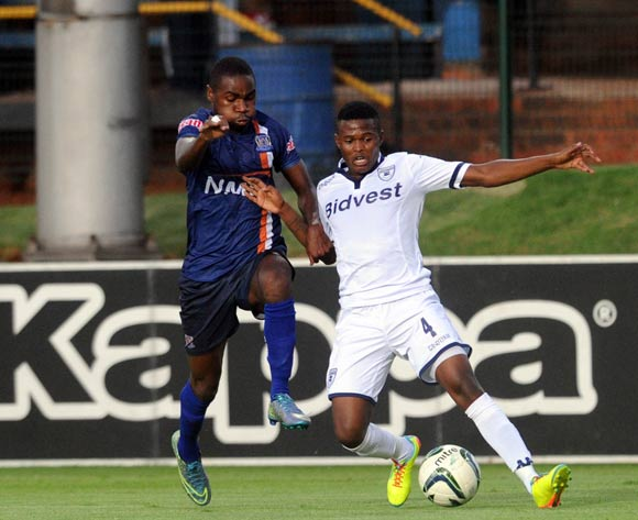 Tabogo Moerane of Bidvest Wits is challenged by Shomari Salum Kapombe of Azam FC during the CAF Confederation Cup match between Bidvest Wits and Azam on 12 March 2016 at Bidvest Stadium Pic Sydney Mahlangu/ BackpagePix