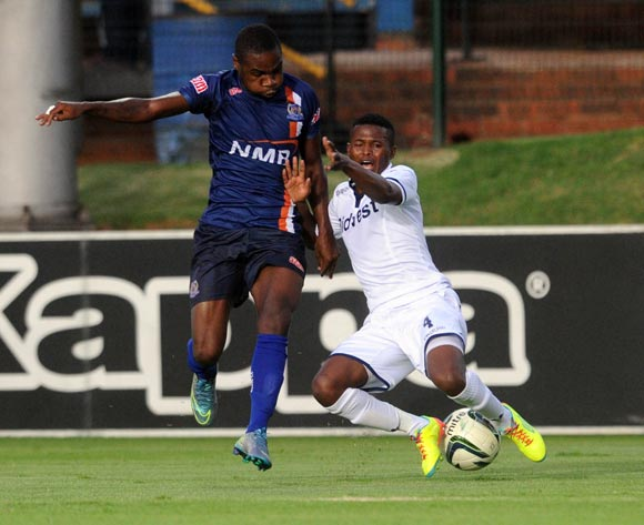 Tabogo Moerane of Bidvest Wits is challenged by Shomari Salum Kapombe of Azam FC