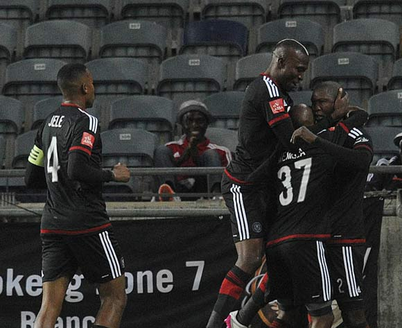Ayanda Gcaba of Orlando Pirates(2) celebrates a goal with teammates during the Absa Premiership match between Orlando Pirates and Jomo Cosmos on 12 March 2016 at Orlando Stadium Pic Sydney Mahlangu/ BackpagePix