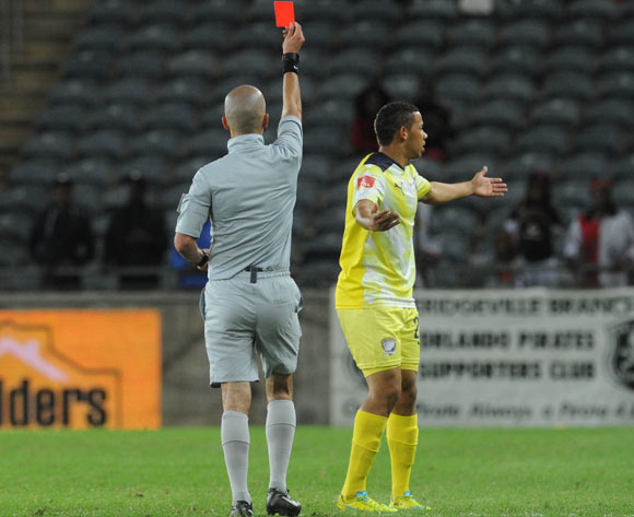 Cheslyn Jampies of Jomo Cosmos being sent off by Referee Victor Gomes during the Absa Premiership match between Orlando Pirates and Jomo Cosmos on 12 March 2016 at Orlando Stadium Pic Sydney Mahlangu/ BackpagePix