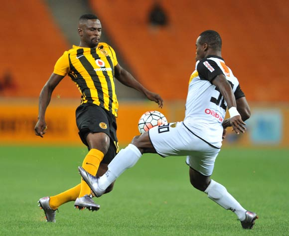 Kgotso Moleko of Kaizer Chiefs challenged by Ngouan Ruffin of Asec Mimosas during the 2016 CAF Champions League football match between Kaizer Chiefs and Asec Mimosas at the FNB Stadium in Johannesburg, South Africa on March 12, 2016 ©Samuel Shivambu/BackpagePix