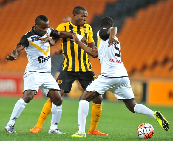 Camaldine Abraw of Kaizer Chiefs challenged by Ngouan Ruffin and Kangovte Adana of Asec Mimosas during the 2016 CAF Champions League football match between Kaizer Chiefs and Asec Mimosas at the FNB Stadium in Johannesburg, South Africa on March 12, 2016 ©Samuel Shivambu/BackpagePix