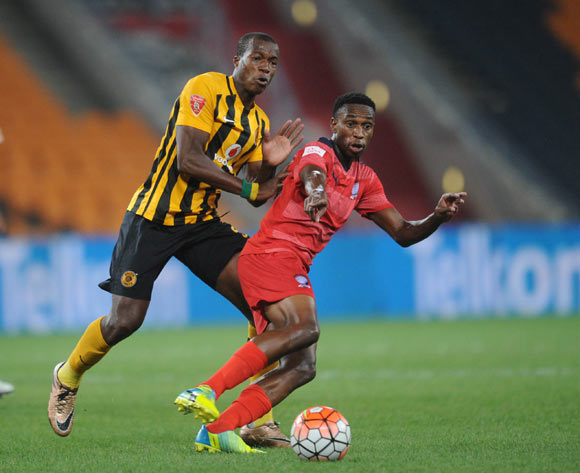 Mxolisi Macuphu of Jomo Cosmos is challenged by Camaldine Abraw of Kaizer Chiefs  during the  Premiership match between Kaizer Chiefs and Jomo Cosmos on 15 March 2016 at FNB Stadium Pic Sydney Mahlangu/ BackpagePix