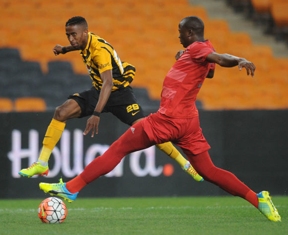 Pilot Mthembu of Jomo Cosmos challenges William Twala of Kaizer Chiefs during the  Premiership match between Kaizer Chiefs and Jomo Cosmos on 15 March 2016 at FNB Stadium Pic Sydney Mahlangu/ BackpagePix