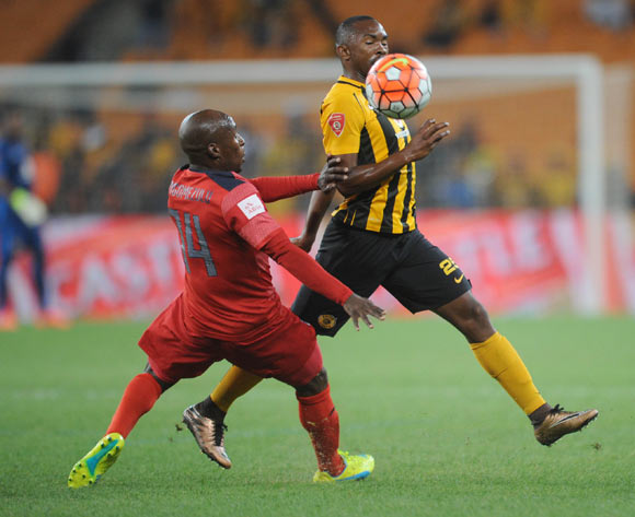 Bernard Parker of Kaizer Chiefs is challenged by Sipho Mngomezulu of Jomo Cosmos during the  Premiership match between Kaizer Chiefs and Jomo Cosmos on 15 March 2016 at FNB Stadium Pic Sydney Mahlangu/ BackpagePix