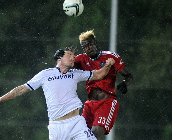 James Keene of Bidvest Wits is challenged by Edwin Gyimah of Orlando Pirates during the Absa Premiership match between Bidvest Wits and Orlando Pirates on 16 March 2016 at Bidvest Stadium Pic Sydney Mahlangu/ BackpagePix
